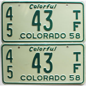 1958 Colorado Farm Tractor License Plates Pair For Sale Low 43 Kiowa County