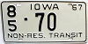 1967 Iowa Non Resident Transit # 70, Story County
