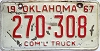 1967 Oklahoma Commercial Truck # 270-308