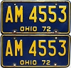1972 Ohio pair # AM-4553