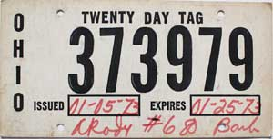 ohio temp tag 1973 Ohio 20 Day Temporary Tag # 373979