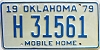 1979 Oklahoma Mobile Home # H 31561