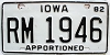 1982 Iowa Apportioned # RM 1946