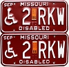 1986 Missouri Disabled pair # 2RKW