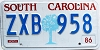 1986 South Carolina graphic # ZXB-958