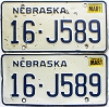 1987 Nebraska pair # J589, Seward County