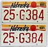 1990 Nebraska pair # G384, Butler County