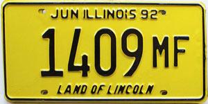 1992 Illinois Truck Mileage Tax # 1409 MF