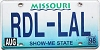 1998 Missouri Vanity graphic # RDL-LAL