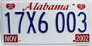 2002 Alabama Truck Tractor License Plate For Sale 17x6003