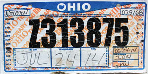 ohio temp tag 2014 Ohio Temporary Tag # Z313875