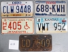 Saturday Special lot # 412, group of 5 mixed old license plates