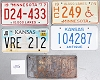 Saturday Special lot # 486, group of 5 mixed old license plates