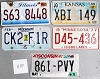 Saturday Special lot # 510, group of 5 mixed old license plates