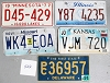 Saturday Special lot # 522, group of 5 mixed old license plates