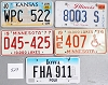 Saturday Special lot # 529, group of 5 mixed old license plates