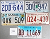 Saturday Special lot # 530, group of 5 mixed old license plates