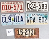 Saturday Special lot # 534, group of 5 mixed old license plates