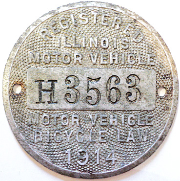 1914 ILLINOIS Motor Vehicle/Motor Bicycle Dashboard Disc # H3563