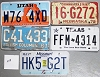 Saturday Special lot # 218, group of 5 mixed old license plates