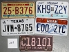 Saturday Special lot # 237, group of 5 mixed old license plates