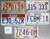 Saturday Special lot # 244, group of 5 mixed old license plates