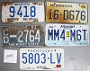 Saturday Special lot # 248, group of 5 mixed old license plates