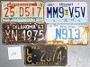 Saturday Special lot # 260, group of 5 mixed old license plates