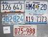 Saturday Special lot # 278, group of 5 mixed old license plates