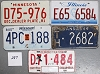 Saturday Special lot # 287, group of 5 mixed old license plates