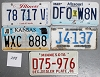 Saturday Special lot # 288, group of 5 mixed old license plates