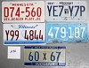 Saturday Special lot # 292, group of 5 mixed old license plates