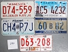 Saturday Special lot # 293, group of 5 mixed old license plates