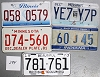 Saturday Special lot # 294, group of 5 mixed old license plates