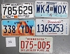 Saturday Special lot # 316, group of 5 mixed old license plates