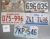 Saturday Special lot # 326, group of 5 mixed old license plates
