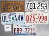 Saturday Special lot # 333, group of 5 mixed old license plates