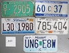 Saturday Special lot # 340, group of 5 mixed old license plates