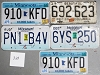Saturday Special lot # 365, group of 5 mixed old license plates