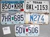 Saturday Special lot # 392, group of 5 mixed old license plates