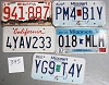 Saturday Special lot # 395, group of 5 mixed old license plates