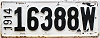 1914 Wisconsin license plate # 16388