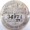 1916 Illinois Motor Vehicle/Motor Bicycle Dashboard Disc # 34974