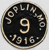 1916 City of Joplin, Missouri FIRST YEAR ISSUED motorcycle license plate # 9