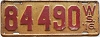 1916 Wisconsin license plate # 84490