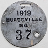1919 City of Huntsville, Missouri license plate # 37