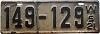 1921 Wisconsin license plate # 149-129