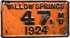 1924 City of Willow Springs, Missouri license plate # 47