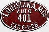 1926 City of Louisiana, Missouri license plate # 401