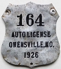 1926 City of Owensville, Missouri license plate # 164
